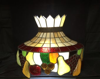 Stained glass lamp shade etsy vintage leaded stained glass hanging lamp shade mozeypictures Image collections