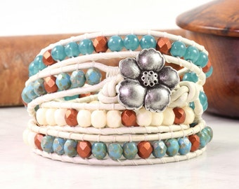 Teal Wrap Bracelet White Leather Bracelet Distressed Leather Jewelry Boho Wrap Bracelet Copper Wrap Bracelet Cream Turquoise Beaded Wrap
