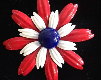 Vintage Red White and Blue Flower Brooch/Pin