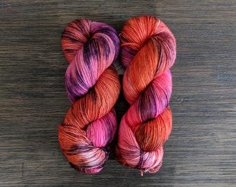 Hand Dyed Yarn- 'Punk Rock Princess' - Superwash Merino Single Ply Fingering Yarn - pink - purple - fuschia - orange - 434 yards