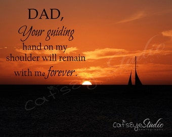"FATHER'S DAY Dad Quote Gift  ""Dad Your Guiding Hand"" Sea Ocean Orange Red Sailboat Sunset Dad's Gift Seascape Hard To Buy Dad Wall Art"