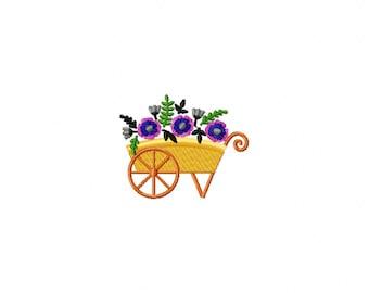 violet flower cart embroidery design, flower cart embroidery design, cart embroidery design, flower embroidery design, violet flowers