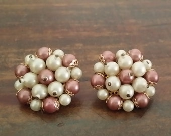 Pink & White Faux Pearl Clip On earrings