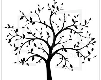 Bare Tree Stencil 2, Family Tree Stencil, Tree Stencil, Tree Branch Stencil, Large Tree Stencil, Tree Template, Family Tree Design, Family
