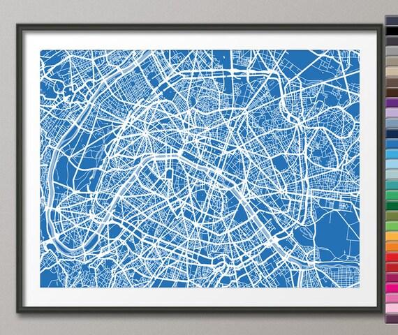 paris france city street map art print 77 custom colors