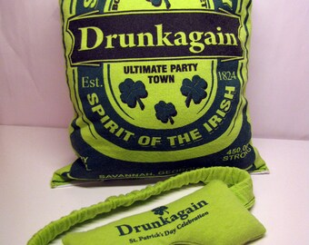 Lush O' the Irish Hangover Helper -- Organic Lavender & Flax Eye Mask w/ Pillow, Decorative/Throw Pillow, Aromatherapy, Herbal, Green, OOAK