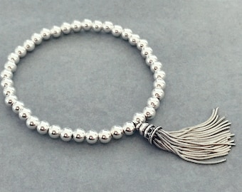Sterling Silver Stackable Tassel Bracelet
