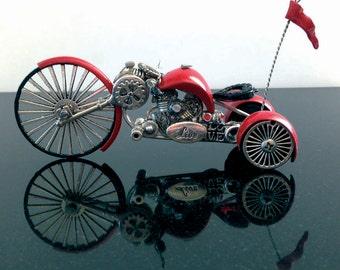 Steampunk motorcycle. Big Red Love Machine