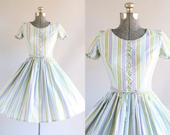 Vintage 1950s Dress / 50s Cotton Dress / Turquoise Purple and Green Striped Dress w/ Original Belt XS