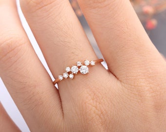 Rose Gold Engagement Ring Diamond Cluster ring Flower Wedding Mini Twig Bridal Jewelry Unique Promise Stacking Anniversary Gift for Women