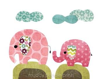 nursery Art, Nursery decor, elephant art print, kids room art, wall art, baby nursery - 2 little elephants