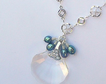Treasure From Down Under, Clear Swarovski Crystal With Peacock Freshwater Pearls,  Necklace