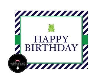 Frog Birthday- Happy Birthday Sign