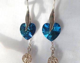 Blue Swarovski heart and Sterling Silver earrings