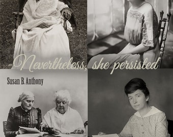 Nevertheless She Persisted, Poster, Elizabeth Warren, Resist, Women's March Suffragettes, Equal Pay, Black White Photo, Equal Rights, Decor
