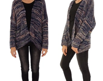 HV100MF1 Jacket Women's multicolor Gr. 38 40 42 44 46 Cardigan Sweater kastig cut Verschlusslos blue