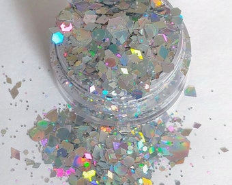 Sterling - Silver Holographic, Chunky Cosmetic Body & Face Glitter For Festival And Creative Makeup, Slime And Crafts