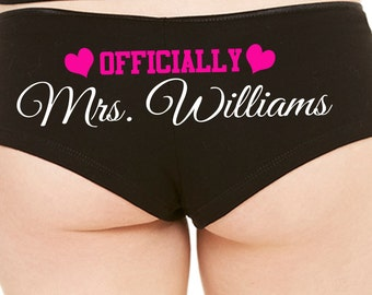 PERSONALIZED OFFICIALLY MRS. wedding honeymoon engagement bridal bachelorette panty game boy short Panties boyshort hen party flirty fun