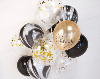 Gold and Black Marble Confetti Balloon, Wedding Party, Birthday Party, 21st, 30th, 40th, 50th, 60th, 70th - AU Free Shipping