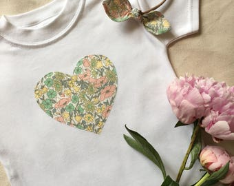 Liberty print sweetheart applique t-shirt