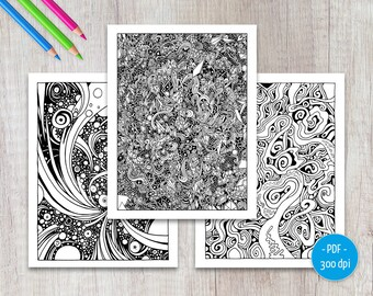 Abstract Adult Coloring Pages   Printable Colouring Set    PDF 17 Color Pages   Download,   Weird Art Book
