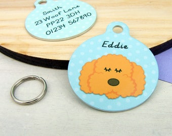 Cockapoo Dog ID Tag-  Labradoodle Name Tag-  Cockapoo Collar Charm -  Cockapoo Name ID tag - Cockapoo - Bichon Frise - personalized - cute