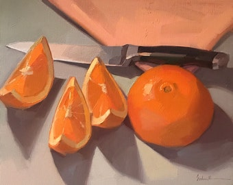 "Art painting fruit oranges still life by Sarah Sedwick ""Sluiced"" 8x10 oil on canvas"