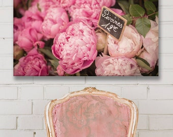 Paris Photo on Canvas, Paris Peonies, Fine Art Photograph Printed on Gallery Wrapped Canvas, Large Wall Art, French Home Decor