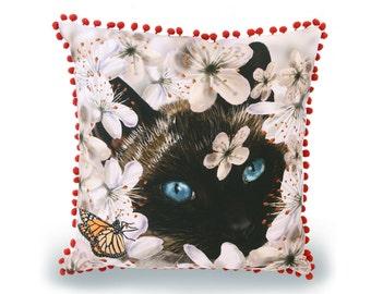 Siamese Cat Cushion Cover - original art print - decorative pillow, throw pillow, animal cushion, animal pillow, pink cushion, 45 x 45cm