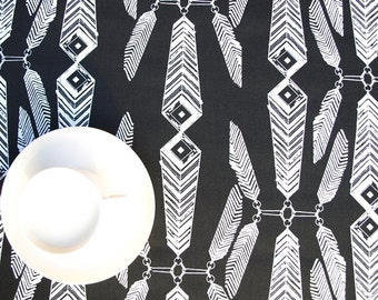 Tablecloth black white Ethnic motive Indians Feathers Abstract table cloth, runner , napkins , pillow , curtain available, great GIFT