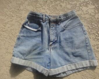 Vintage 80s Arizona  High Waisted Cuffed Denim Jean Shorts Size 7 Made In The USA High Waisted  Jean Cuffed Denim Shorts