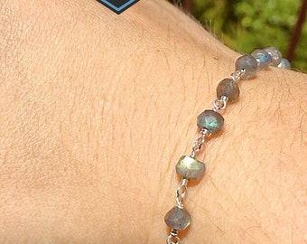 Sterling Silver Labradorite Bracelet, Peridot Bracelet, Peruvian Opal Bracelet, Garnet Bracelet