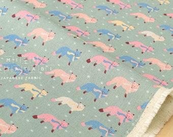 Japanese Fabric Kokka Animal World - chilly fox - green - 50cm