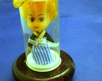 Vintage Miniature Miss Russia Made in Hong Kong Collectible Doll, 1960s