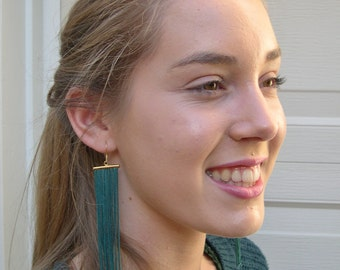 Long fringe earrings emerald - long dangle earrings - fringe earrings - Emerald Tassel earrings - Boho earrings - girlfriend gift idea