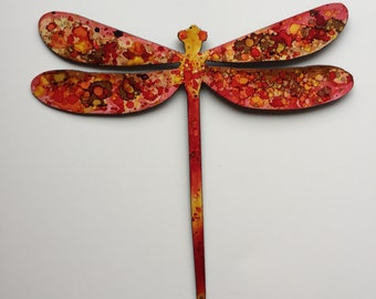 Hand Painted metal Dragonfly wall art.