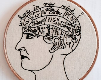PDF Embroidery PATTERN The PHRENOLOGY Head  digital  Downloadable