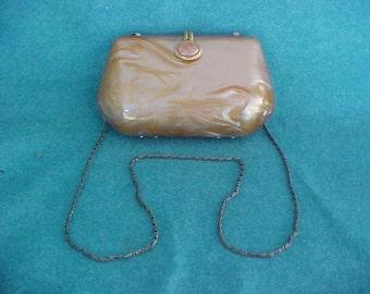 Vintage Gold Lucite Purse With Metal Shoulder Strap