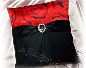 Red rose and black wedding pillow, red and black ring bearer pillow, satin ring cushion.  READY TO SHIP