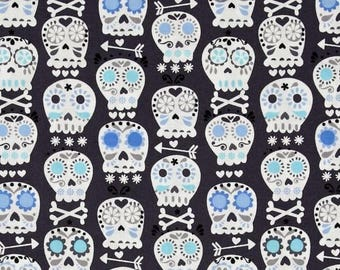 Skull fabric, patchwork fabric, fabric Bonehead Miller charcoal to coupon