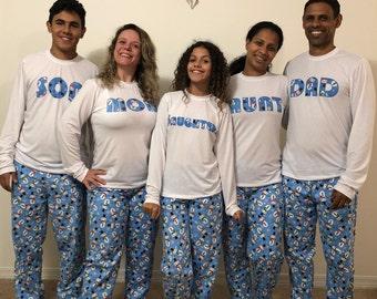 Personalized Family Pajamas, Matching family family pajamas , toddler pajamas, family pjs, adult pajamas, children pajamas