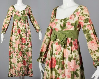 Medium Modest Prom Dress 1960s Empire Waist Dress Full Length Evening Dress Long Sleeve Maxi Dress Vintage 60s Spring Formal