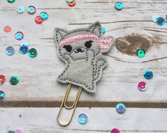 Ninja Kitty planner paperclip, planner accessories, cat planner clip, cat planner accessories, kitty cat planner paperclips