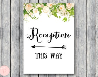 Reception Sign, Wedding Direction Sign, Instant Download, Printable Sign, Wedding Reception Sign, Engagement WD12 TH01