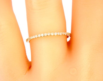 14K Yellow Gold Full Eternity Diamond Band Anniversary Band Wedding Band Promise Ring Stackable Band White Gold Rose Gold Platinum 18k