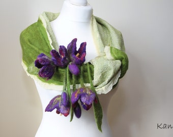 Felted cosy silk scarf/shawl/wrap, nuno felted with merino wool, green and ivory colours with a purple flower tassels