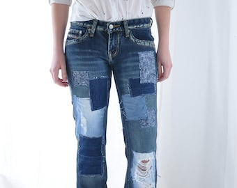 Patched Denim / Patched Jeans / Reworked Vintage Jeans with Patches /  vintage brand jeans/painted denim/redone jeans /boyfriend jeans/