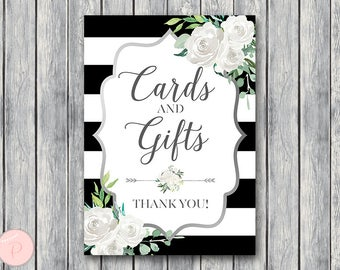 Silver White Floral Cards and Gifts Sign, Download, Decoration Printable Sign, Wedding Thank you Sign, Engagement Party TH81