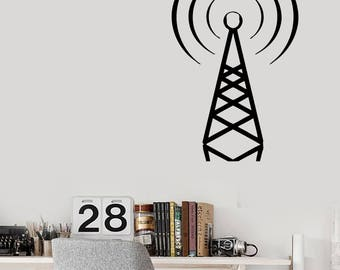 Wall Vinyl Decal Radio and Telephone Station Wave Beacon Decor Decal (#2433dn)