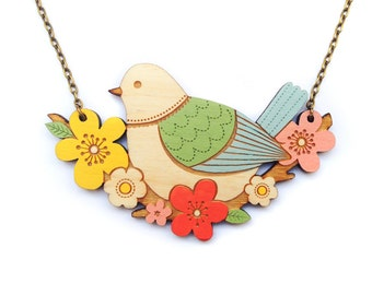 Blue Tit and Flowers Necklace